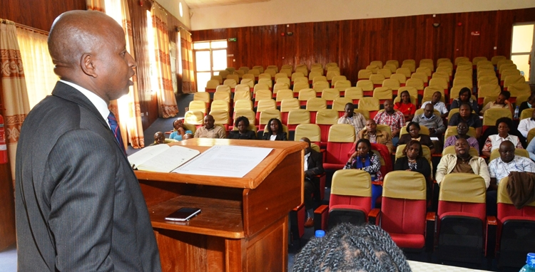 Baringo County Secretary to the Public Service Board, Mr. Chepkoiwo addresses participants at the School's Baringo Campus.